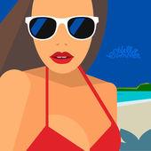 Hello Summer, beautiful woman in bikini and sunglasses — Stockvektor