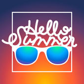 Summertime rbackground with sunglasses and text Hello Summer — Stock Vector