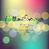 Hello summer, summertime blurred background — Stock Vector