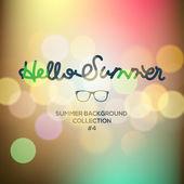 Hello summer, summertime blurred background — Stock Vector