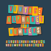 Vintage alphabet and numbers, collage paper design — Stock Vector