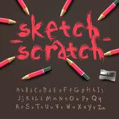 Schets alfabet — Stockvector