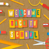 Back to school background, paper collage — Stock Vector