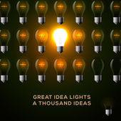 Idea concept, row of light bulbs. — Stockvektor