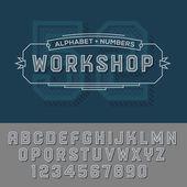 Alphabet numbers retro colour style. — Stock Vector