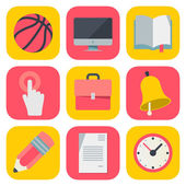 Clean and simple education icons based on iOS7 grid, vector illustration. — Stock Vector