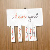 I love you handwritten on advertisement leaflet — Vector de stock