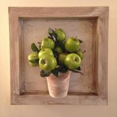Wall decor in the country, Provence style, shelves, miniatures — Stock Photo