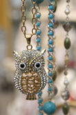 Jewelry owl necklace — Stock Photo