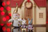 Remarkable pair of toy hares — Stock Photo