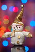 Weihnachten und neujahr, schneemann gegen schöne eine seite — Stockfoto