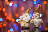 Santa Claus and Snowman — Stockfoto