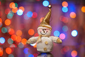 Christmas and new year, Snowman against beautiful a side — Stock Photo