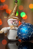 Snowman and Christmas toy — Stock Photo