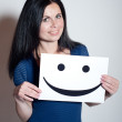 Young Woman holds a smile — Stock Photo