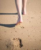 Footprints on the beach — Stock Photo