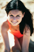 Happy Woman Smiling. Rest on a beach — Stock Photo