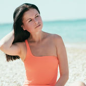 Woman rest on a beach — Foto Stock