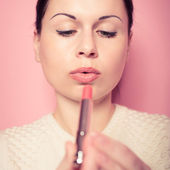 Makeup.Professional Make-up. Lipgloss. Lipstick — Stock Photo