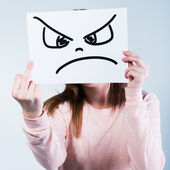 Angry  woman showing middle finger — Stock Photo