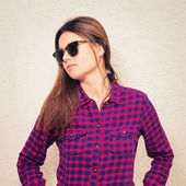 Woman wearing trendy glasses — Stock Photo