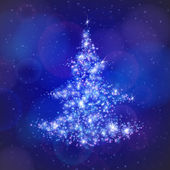 Christmas tree made of light particles. — Vettoriale Stock