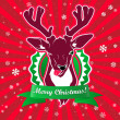 Stock Vector: Winking and show it's tongue deer with christmas greeting