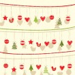 Retro Christmas Garland Background  — Stock Vector