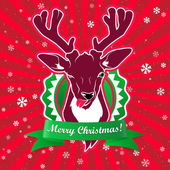 Winking and show it's tongue deer with christmas greeting — Stock Vector