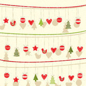 Retro Christmas Garland Background — Vector de stock
