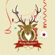 Vintage Christmas card with deer — Stock Vector #34488189