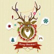 Stock Vector: Vintage Christmas card with deer
