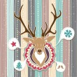 Vintage vector Christmas card with Deer. Cold Pastel colors  — Stock Vector