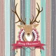 Vintage vector Christmas card with Deer. Cold Pastel colors — Stock Vector #34488225