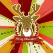 Stock Vector: Vintage vector Christmas card with Deer showing his tongue