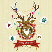 Vintage Christmas card with deer — Stock Vector
