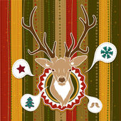 Vintage vector Christmas card with Deer — Stock Vector