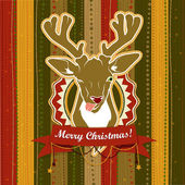 Vintage vector Christmas card with Deer showing his tongue — Stock Vector