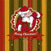 Vintage vector kerstkaart met santa claus — Stockvector
