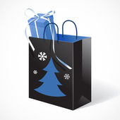 Festive black paper-bag with christmas tree, snowflakes and gift — Stock Vector