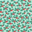 Holly berry flat seamless pattern — Stock Vector