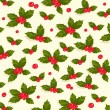 Stock Vector: Christmas holly berries seamless pattern background