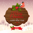 Christmas signboard with holly berry and bullfinch — Stock Vector