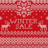 Winter sale: Scandinavian style seamless knitted pattern with de — Stockfoto