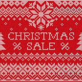 Christmas Sale: Scandinavian style seamless knitted pattern — ストック写真