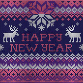 Happy New Year: Scandinavian style seamless knitted pattern — Stock Vector