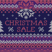 Christmas Sale: Scandinavian style seamless knitted pattern — Stock Vector