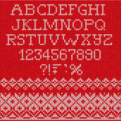 Christmas Font: Scandinavian style seamless knitted — Stock Vector