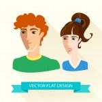 Teenage sport boy and girl team. Flat design. — Stock Vector