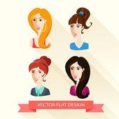 Set of flat design women's portraits. — Stock Vector
